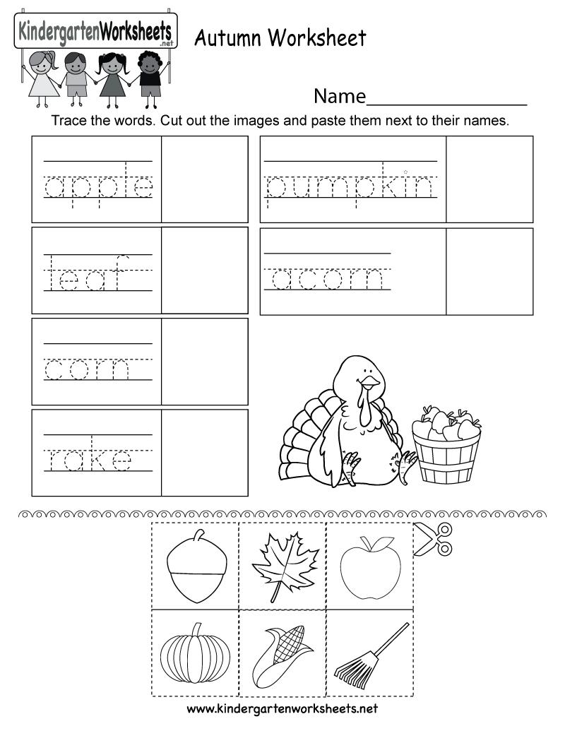 Autumn Worksheet - Free Kindergarten Seasonal Worksheet For Kids | Free Printable Fall Worksheets Kindergarten