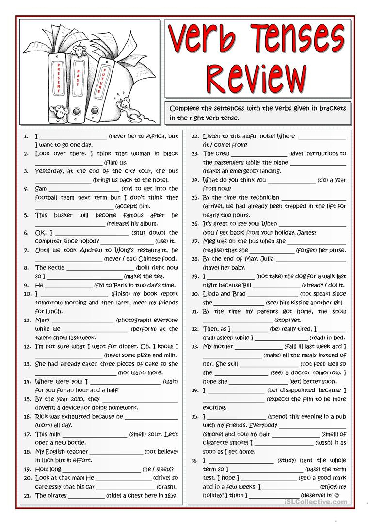 B1 Verb Tenses Review 1/2 Worksheet - Free Esl Printable Worksheets | Free Printable Worksheets On Verb Tenses