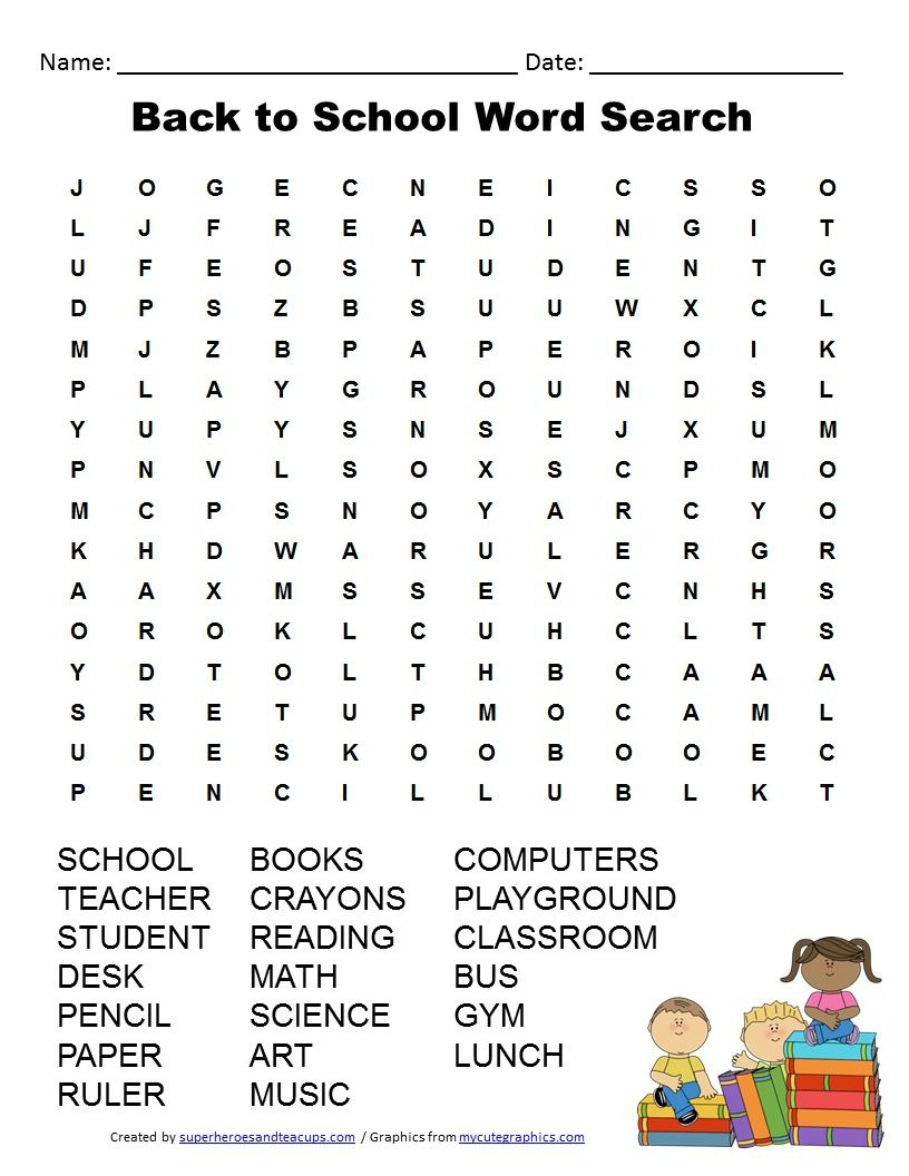 Back To School Word Search Free Printable | Back To School | School | Free Printable Math Word Search Worksheets
