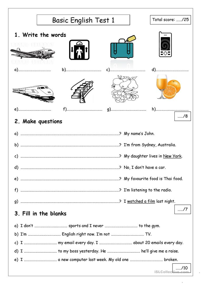Basic English Test 1 Worksheet - Free Esl Printable Worksheets Made | English Test Printable Worksheets
