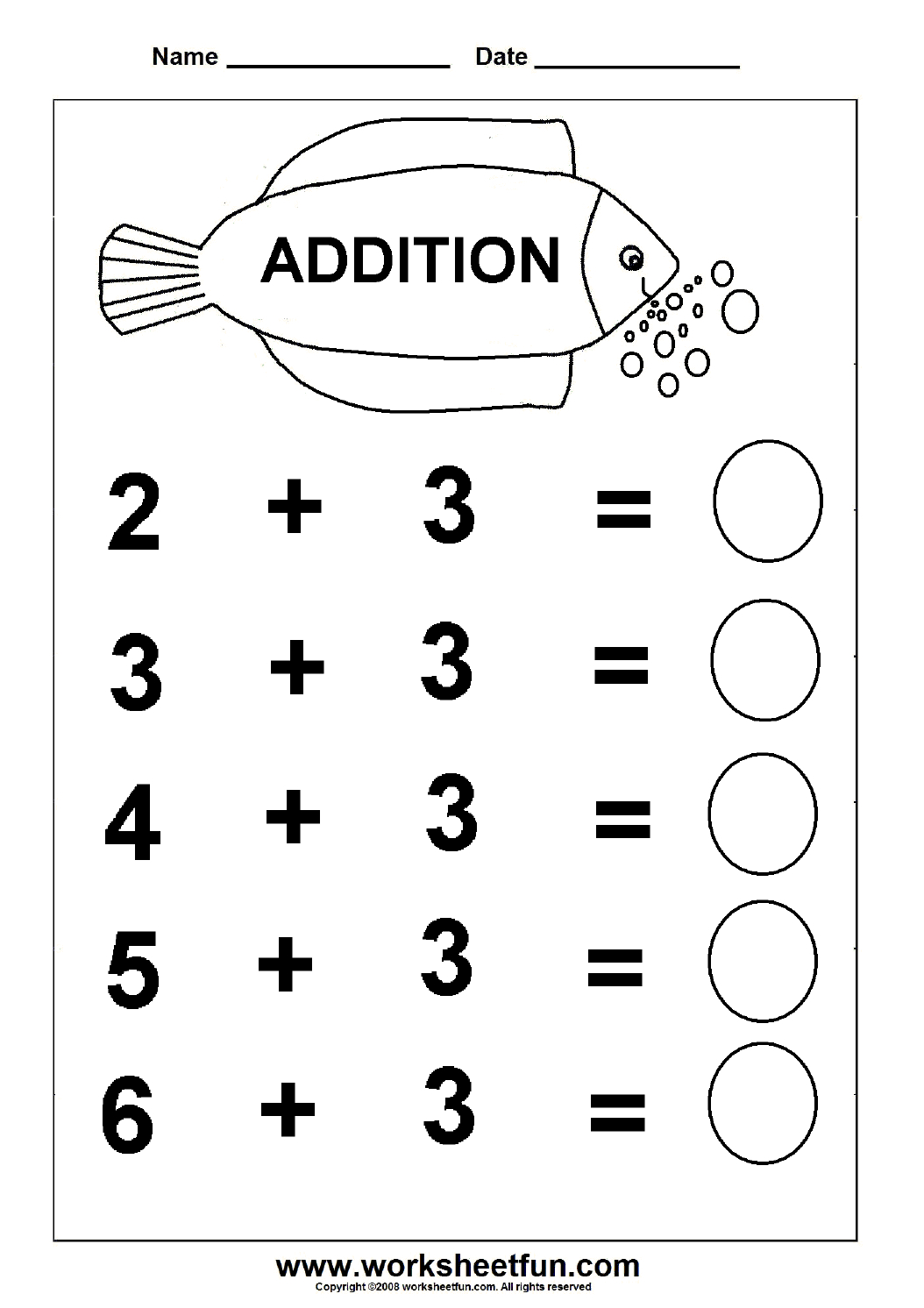 Beginner Addition – 6 Kindergarten Addition Worksheets / Free | Printable Math Addition Worksheets For Kindergarten
