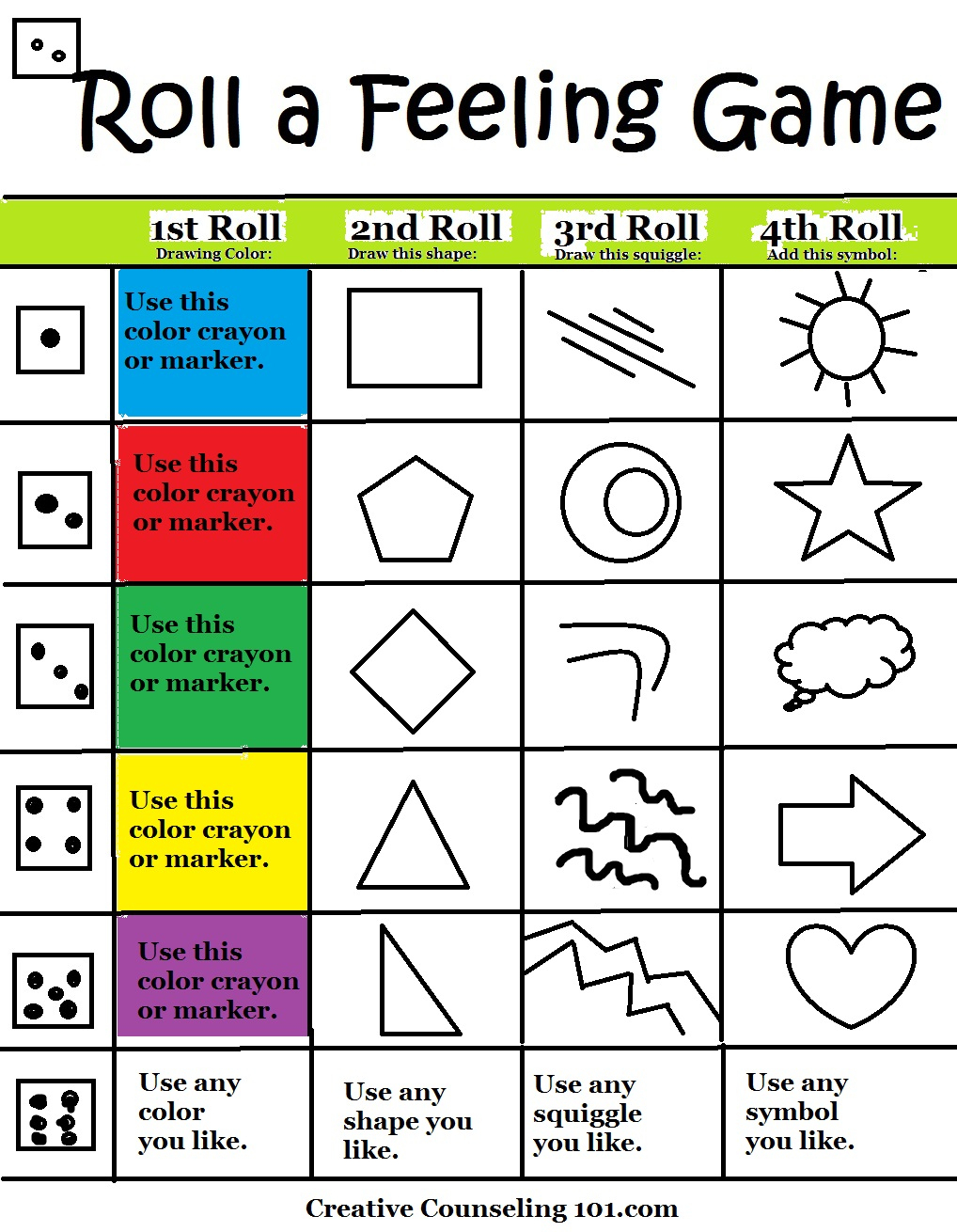 Beyond Art Therapy Roll-A-Feelings Game | Free Printable Counseling Worksheets