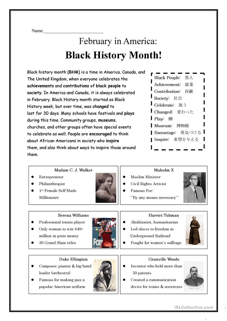 Black History Month! Worksheet - Free Esl Printable Worksheets Made | Black History Month Free Printable Worksheets