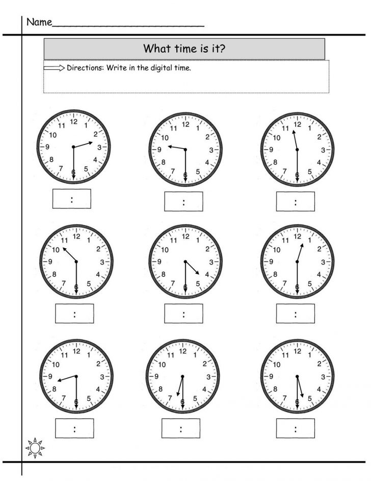 Printable Clock Worksheets First Grade