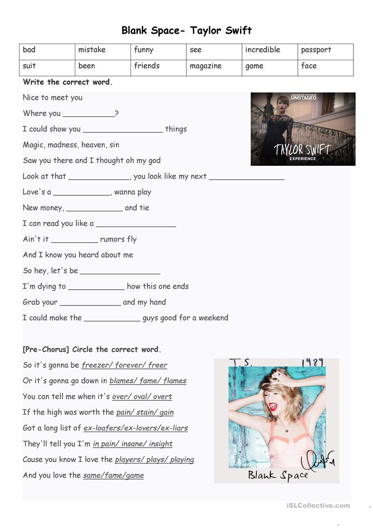 Blank Spacetaylor Swift Worksheet - Free Esl Printable | Space Printable Worksheets