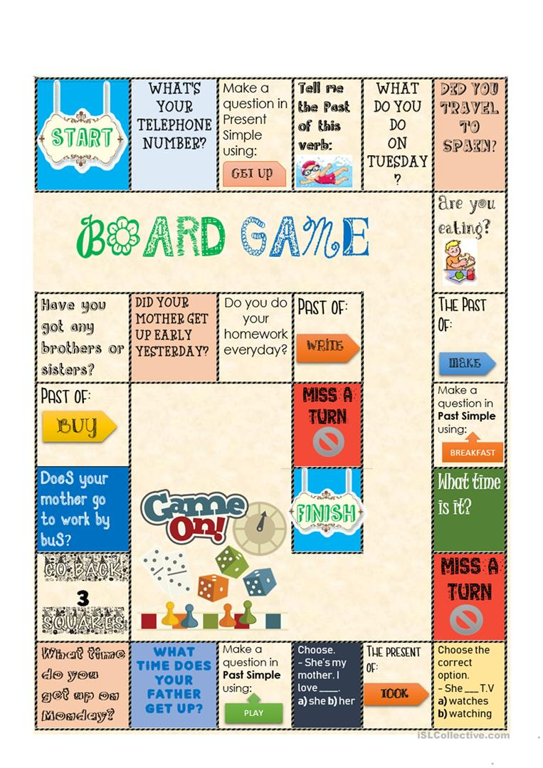 Board Game - Present And Past Simple Worksheet - Free Esl Printable | Are You My Mother Printable Worksheets