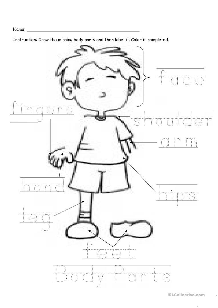 Body Parts Labeling Worksheet - Free Esl Printable Worksheets Made | Free Printable Worksheets Preschool Body Parts