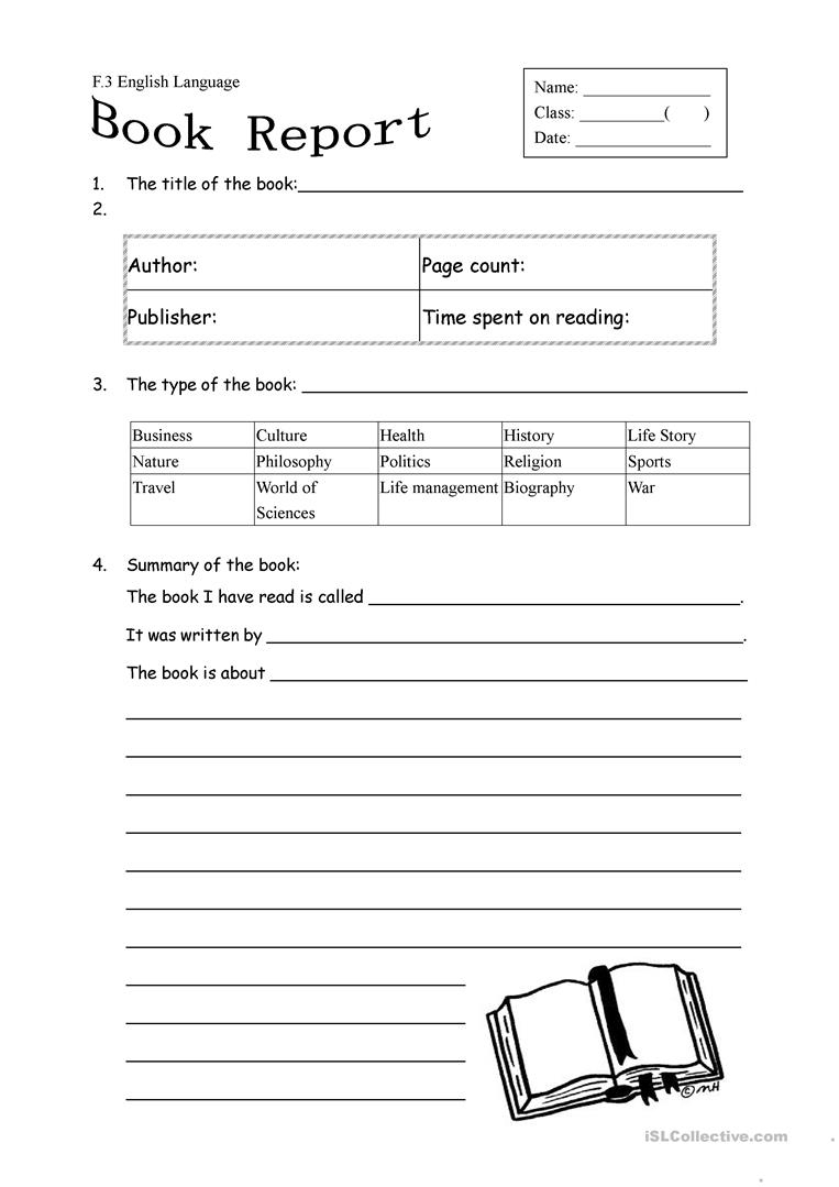 Book Report Form For Non Fiction Worksheet - Free Esl Printable | Book Report Printable Worksheets