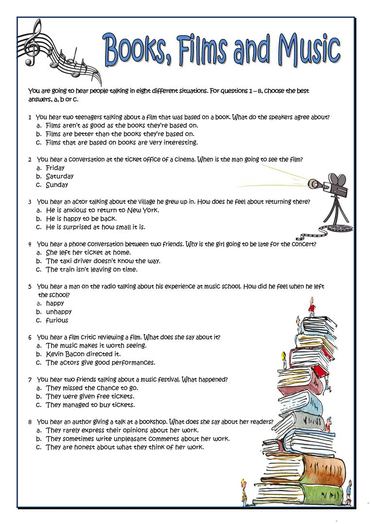 Books, Films And Music Worksheet - Free Esl Printable Worksheets | Reading Music Worksheets Printable