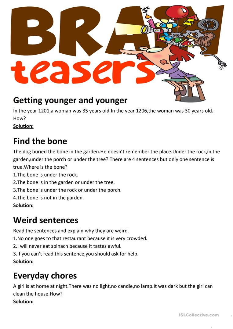 Brain Teasers(With Answer Key) Worksheet - Free Esl Printable | Printable Brain Teaser Worksheets For Adults