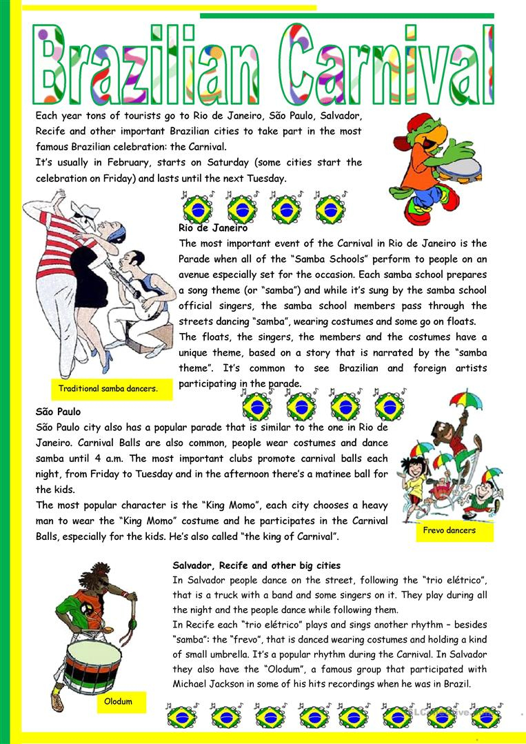 Brazilian Carnival – Text, Pictures, Comprehension, Links To Videos | Brazil Worksheets Free Printables