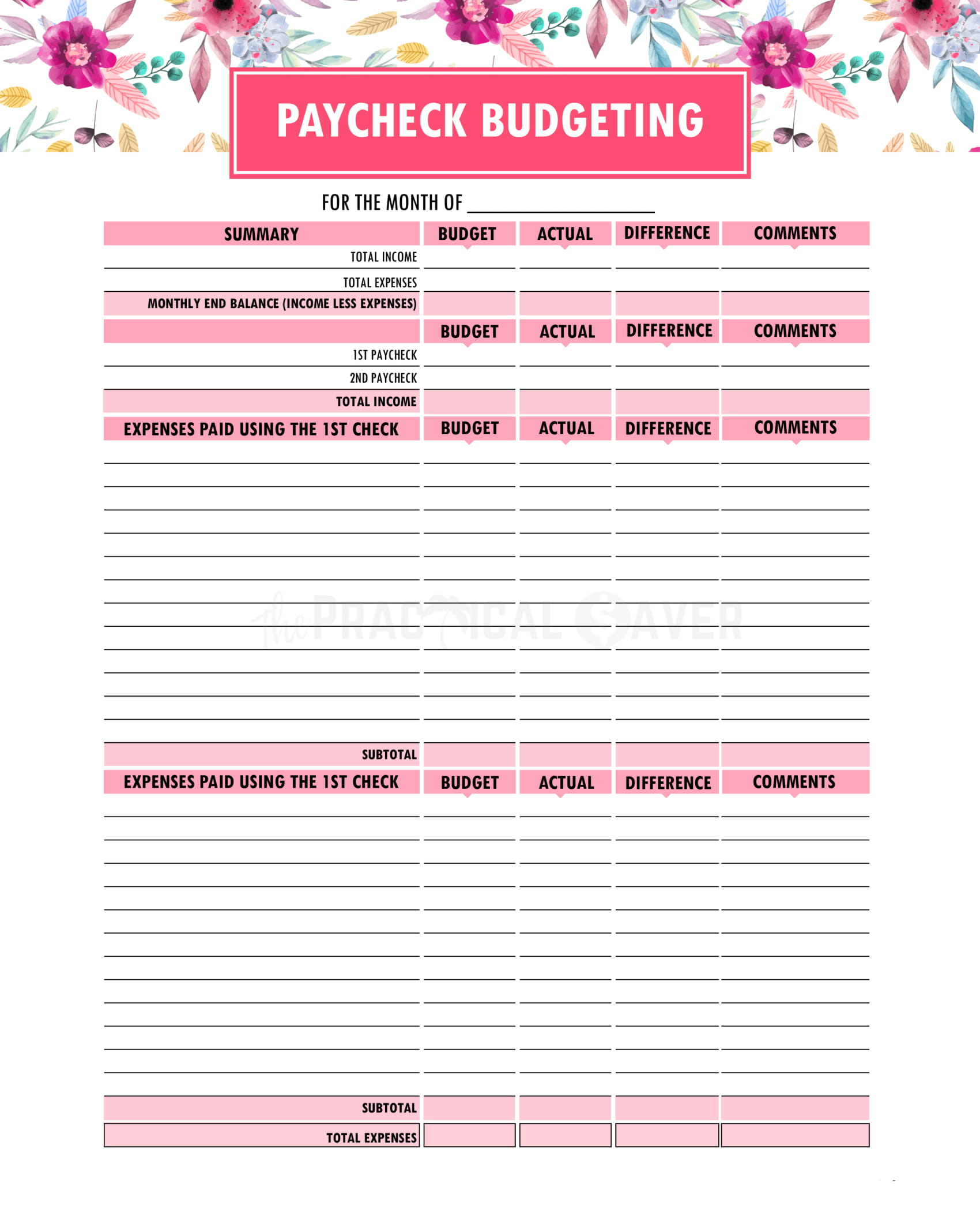 Budget Binder Printables - The Practical Saver   Printable Budget Binder Worksheets