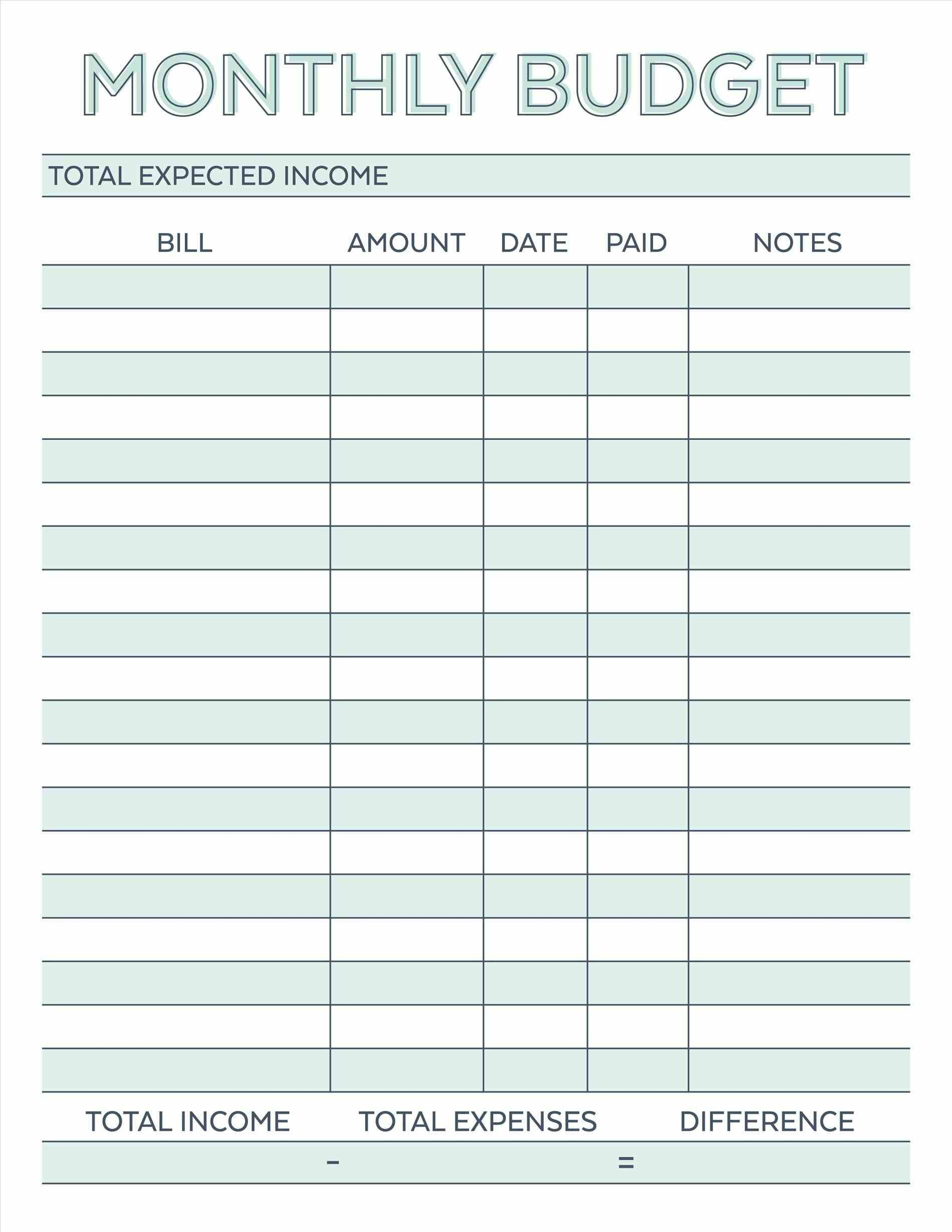 Budget Planner Planner Worksheet Monthly Bills Template Free | Free Printable Home Budget Worksheet