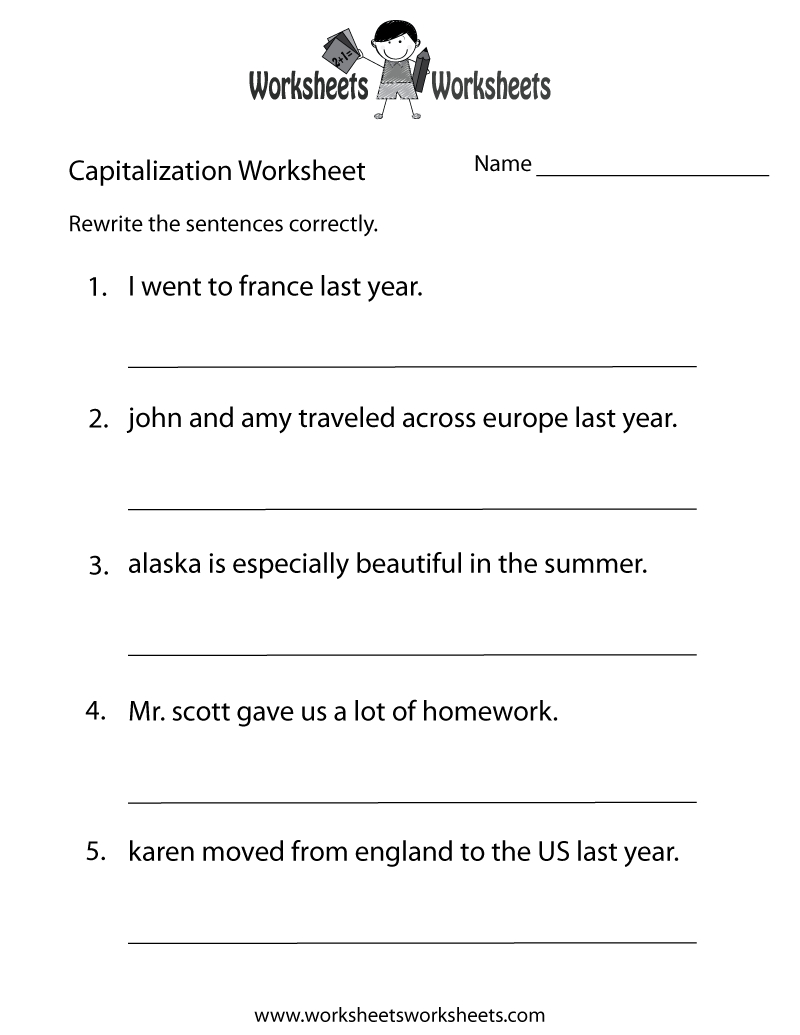 Capitalization Worksheets | Capitalization Practice Worksheet - Free | Free Printable Grammar Worksheets