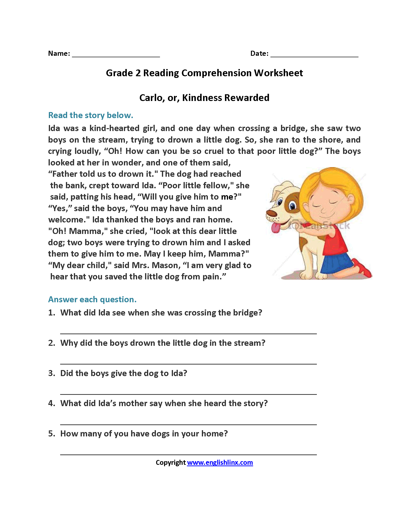 Carlo Or Kindness Rewarded Second Grade Reading Worksheets | Reading | Free Printable Reading Comprehension Worksheets Grade 5
