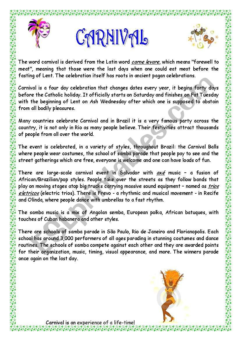 Carnival In Brazil - Esl Worksheetsoallure | Brazil Worksheets Free Printables