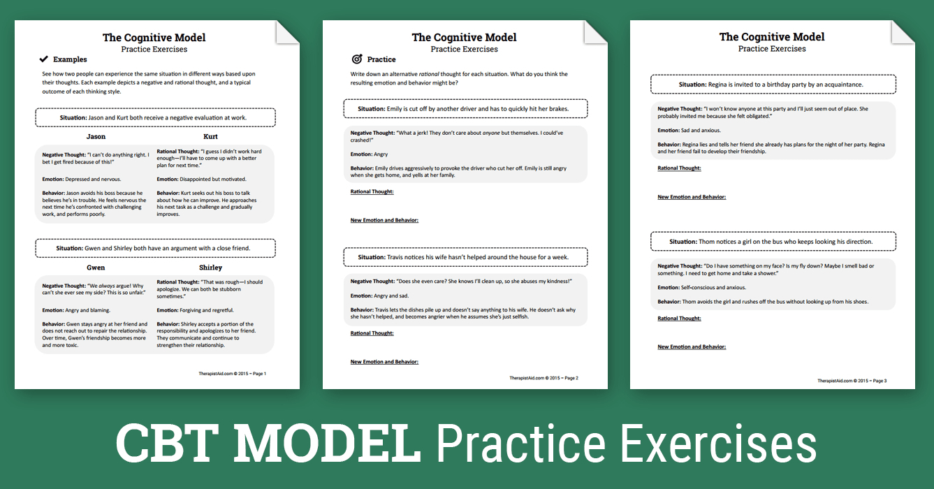 Cbt Practice Exercises (Worksheet) | Therapist Aid - Free Printable | Printable Mental Health Worksheets For Adults