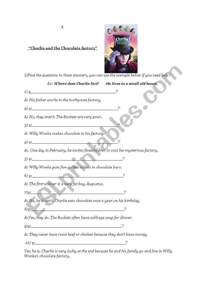 Charlie And The Chocolate Factory Worksheet - Esl Worksheet | Charlie And The Chocolate Factory Worksheets Printable