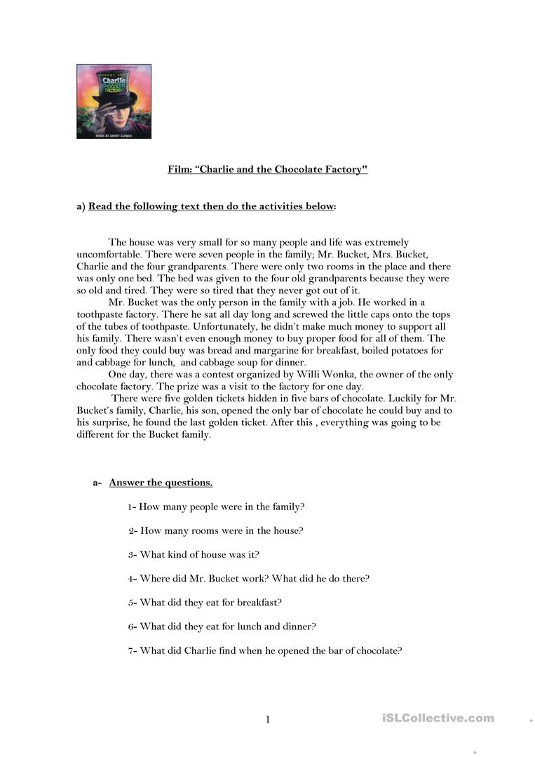 Charlie And The Chocolate Factory Worksheet - Free Esl Printable | Charlie And The Chocolate Factory Worksheets Printable