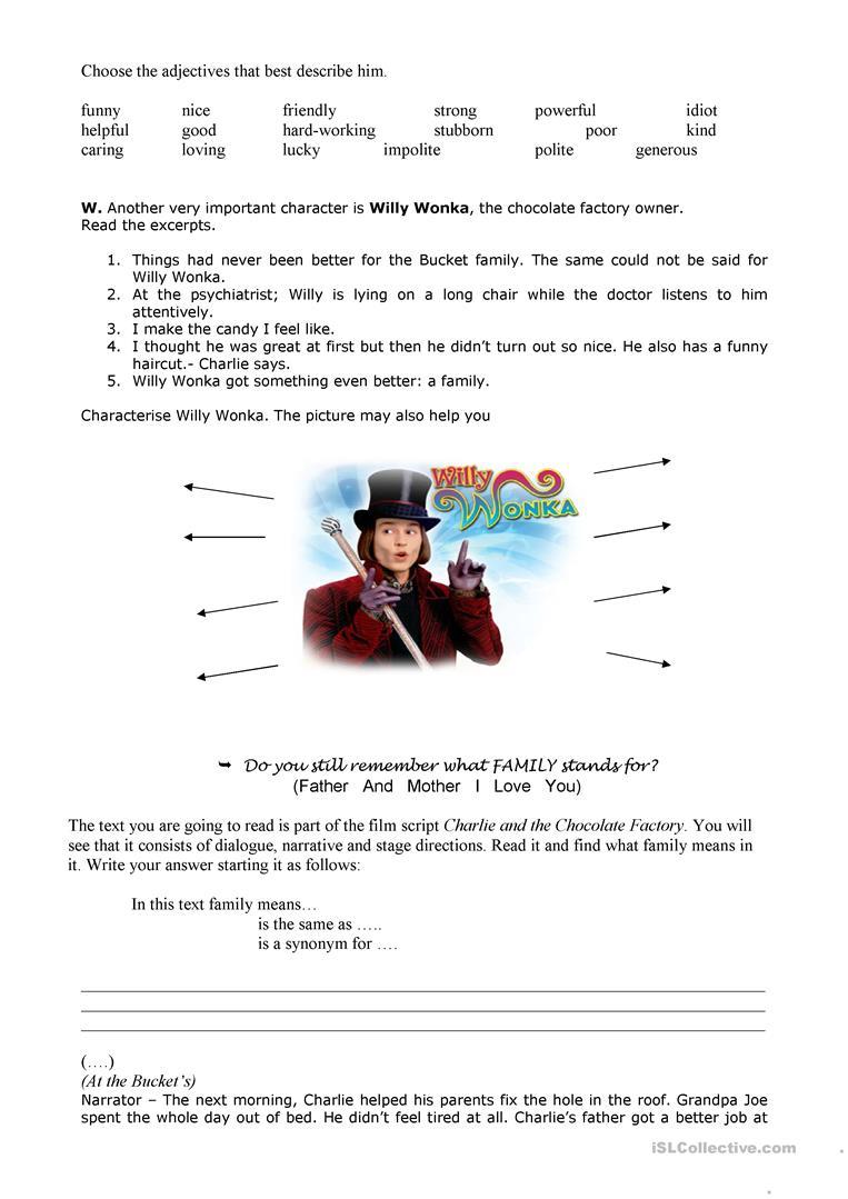Charlie & The Chocolate Factory 2 Worksheet - Free Esl Printable | Charlie And The Chocolate Factory Worksheets Printable
