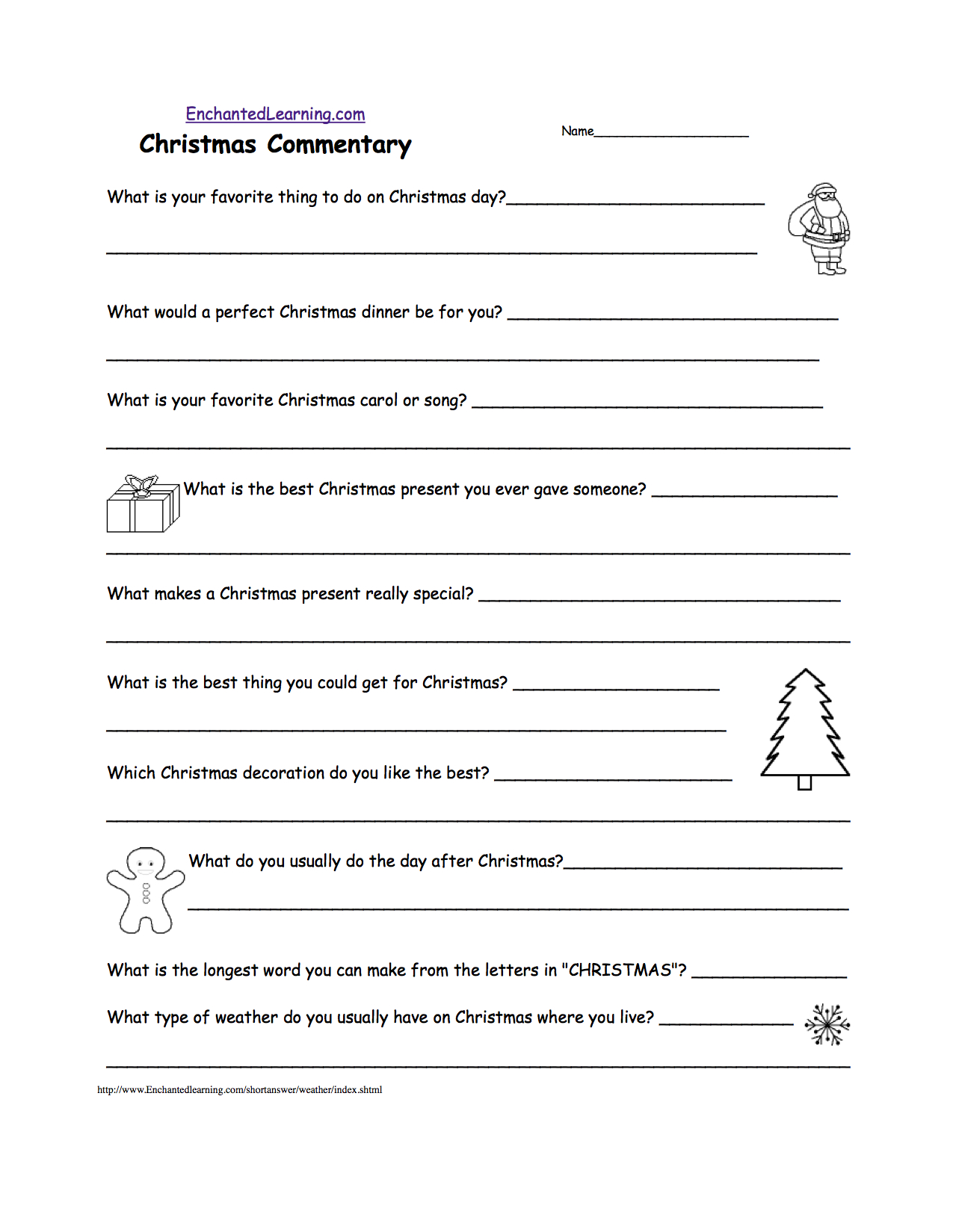 Christmas Activities: Writing Worksheets - Enchantedlearning | Christmas Writing Worksheets Printables