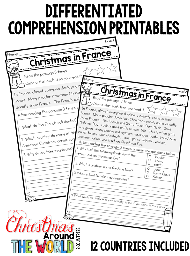 Christmas Around The World Differentiated Passages, Printables Books | Christmas Around The World Worksheets Printables