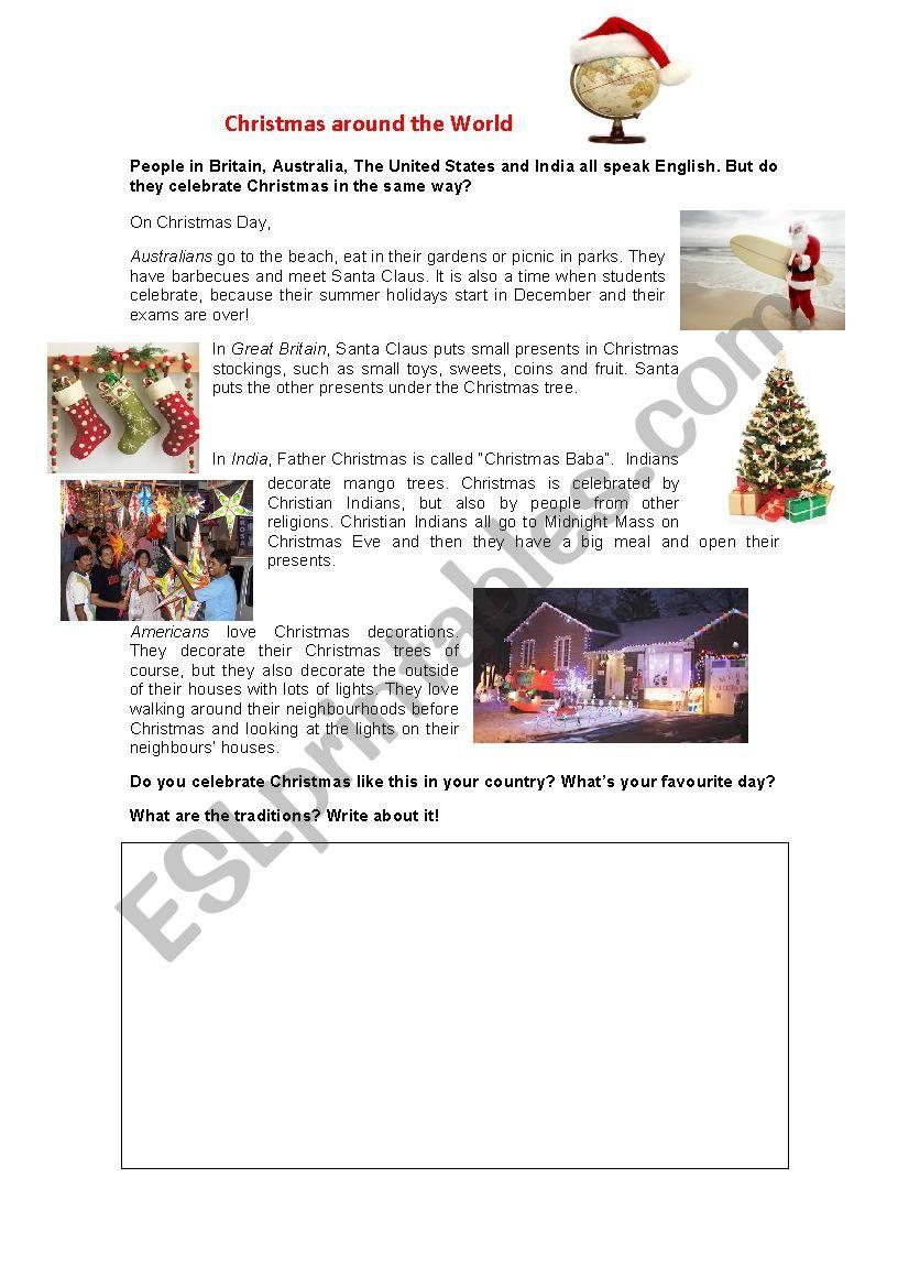 Christmas Around The World - Esl Worksheetbertabas | Christmas Around The World Worksheets Printables