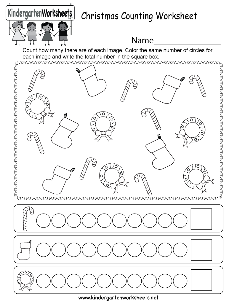 Christmas Counting Worksheet - Free Kindergarten Holiday Worksheet | Christmas Worksheets Printables For Kindergarten