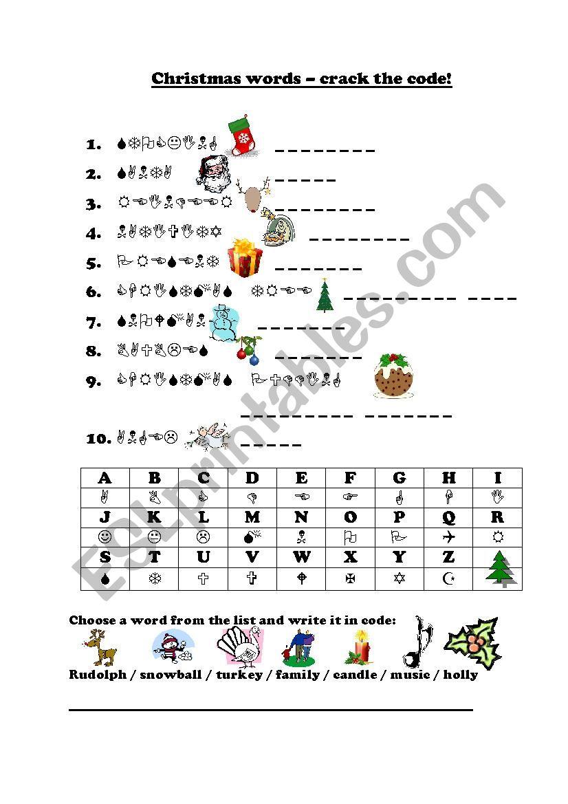 """Christmas """"crack The Code"""" - Esl Worksheetfrausue - Crack The Code   Crack The Code Worksheets Printable"""