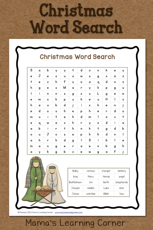 Christmas Word Search: Free Printable - Mamas Learning Corner | Free Printable Christmas Worksheets For Third Grade