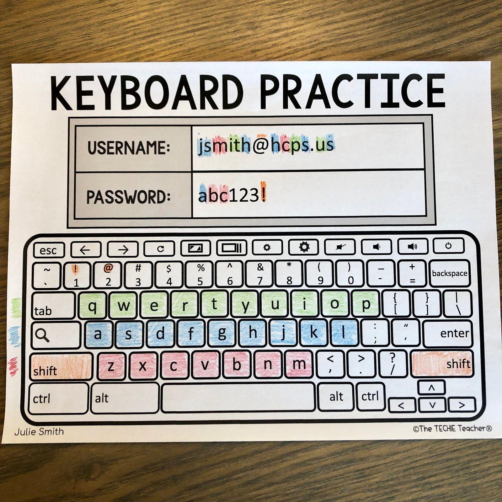 Chromebook Keyboard Printable Practice Sheets | Teacher | Teaching | Free Printable Computer Keyboarding Worksheets