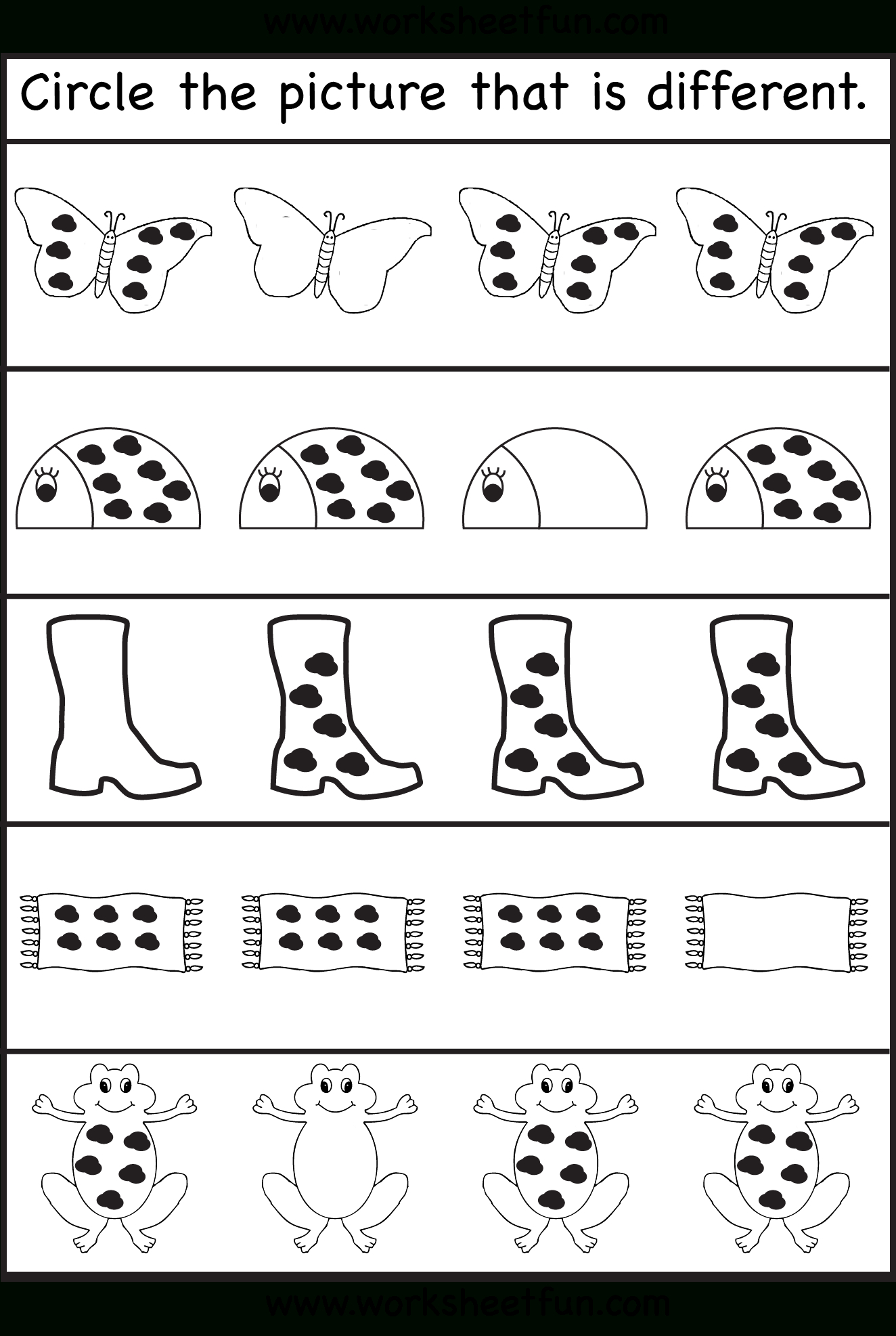 Circle The Picture That Is Different - 3 Worksheets   Printable   Printable Worksheets For 3 Year Olds