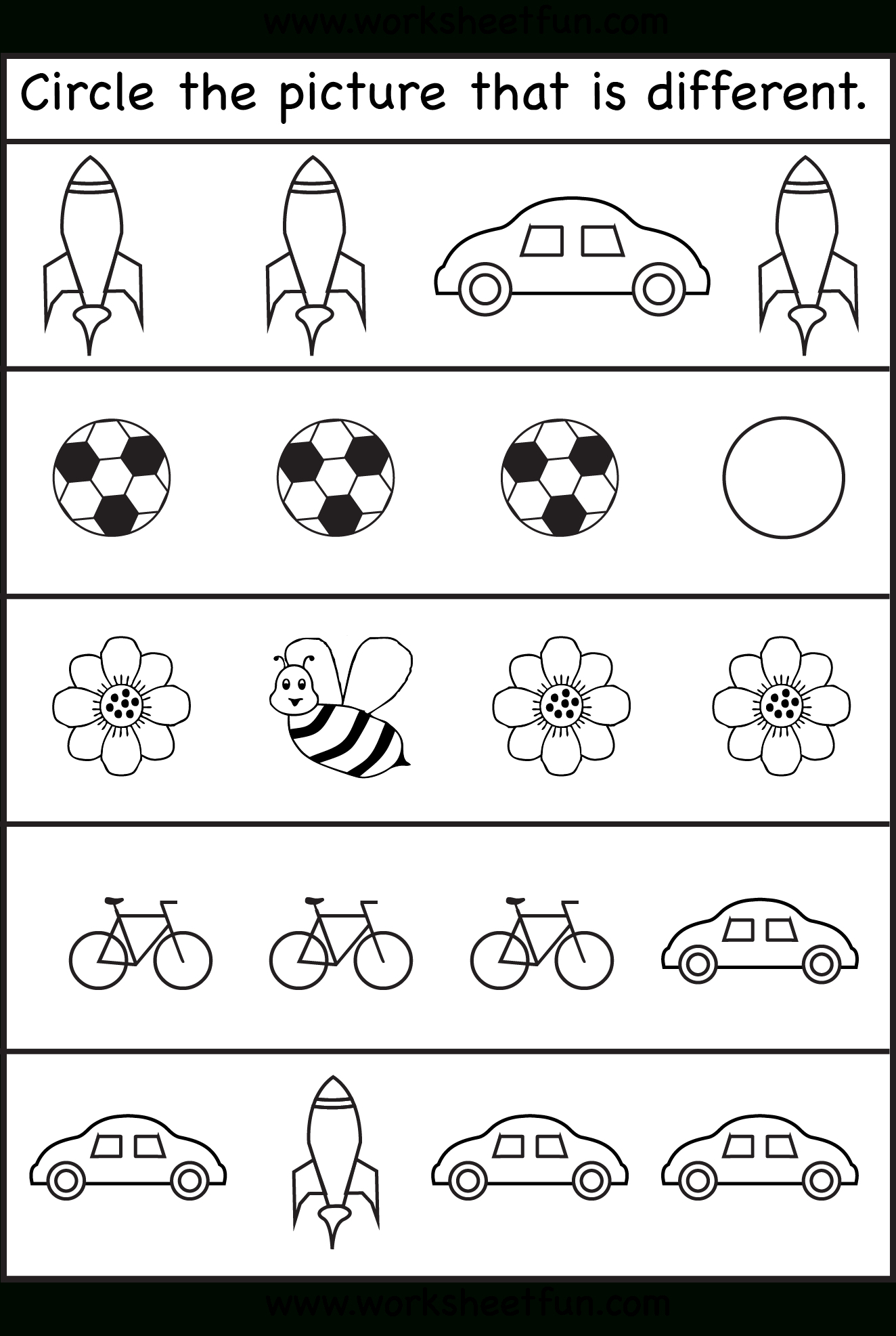 Circle The Picture That Is Different - 4 Worksheets | Preschool Work | Free Printable Toddler Learning Worksheets