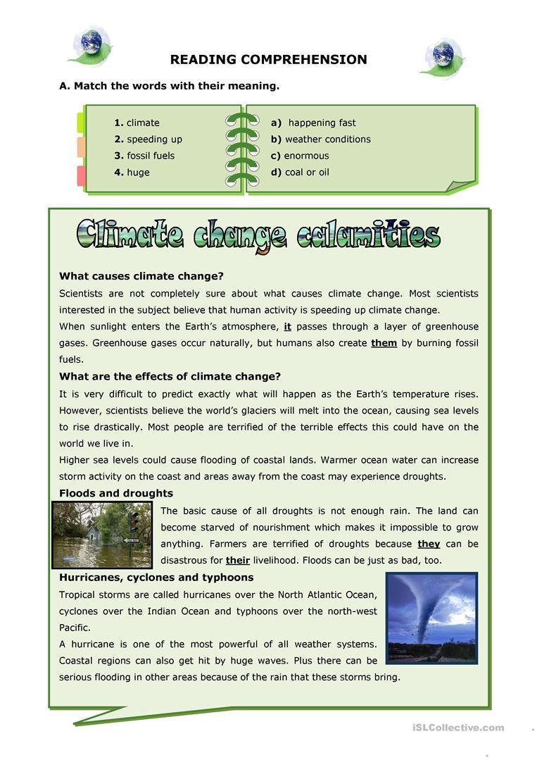 Climate Change Calamities Worksheet - Free Esl Printable Worksheets | Climate Change Printable Worksheets