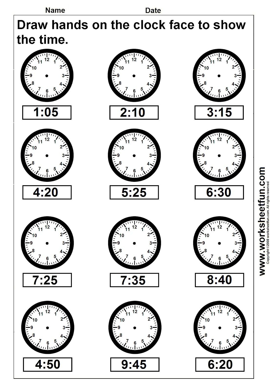 Clock Telling Time Worksheet Printable | Worksheetfun - Free | Kindergarten Clock Worksheet Printables