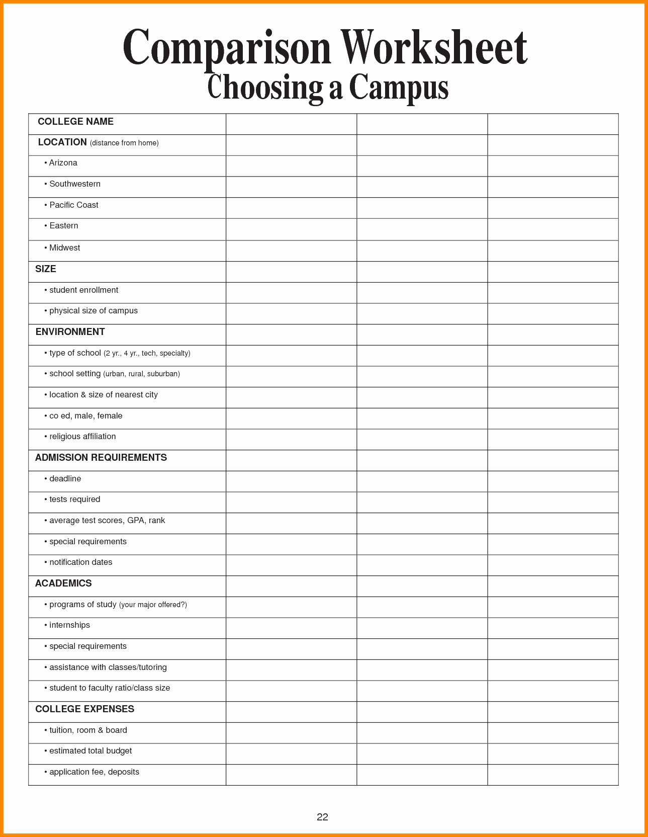 College Comparison Spreadsheet Spreadsheet Software How To Create An | Printable College Comparison Worksheet