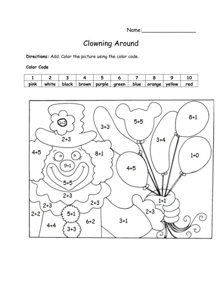 Free Printable Color By Number Addition Worksheets