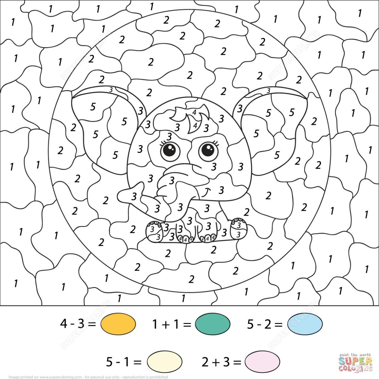 Coloring ~ Colornumber Math Worksheets Authenticlour Numbers | Printable Color By Number Math Worksheets
