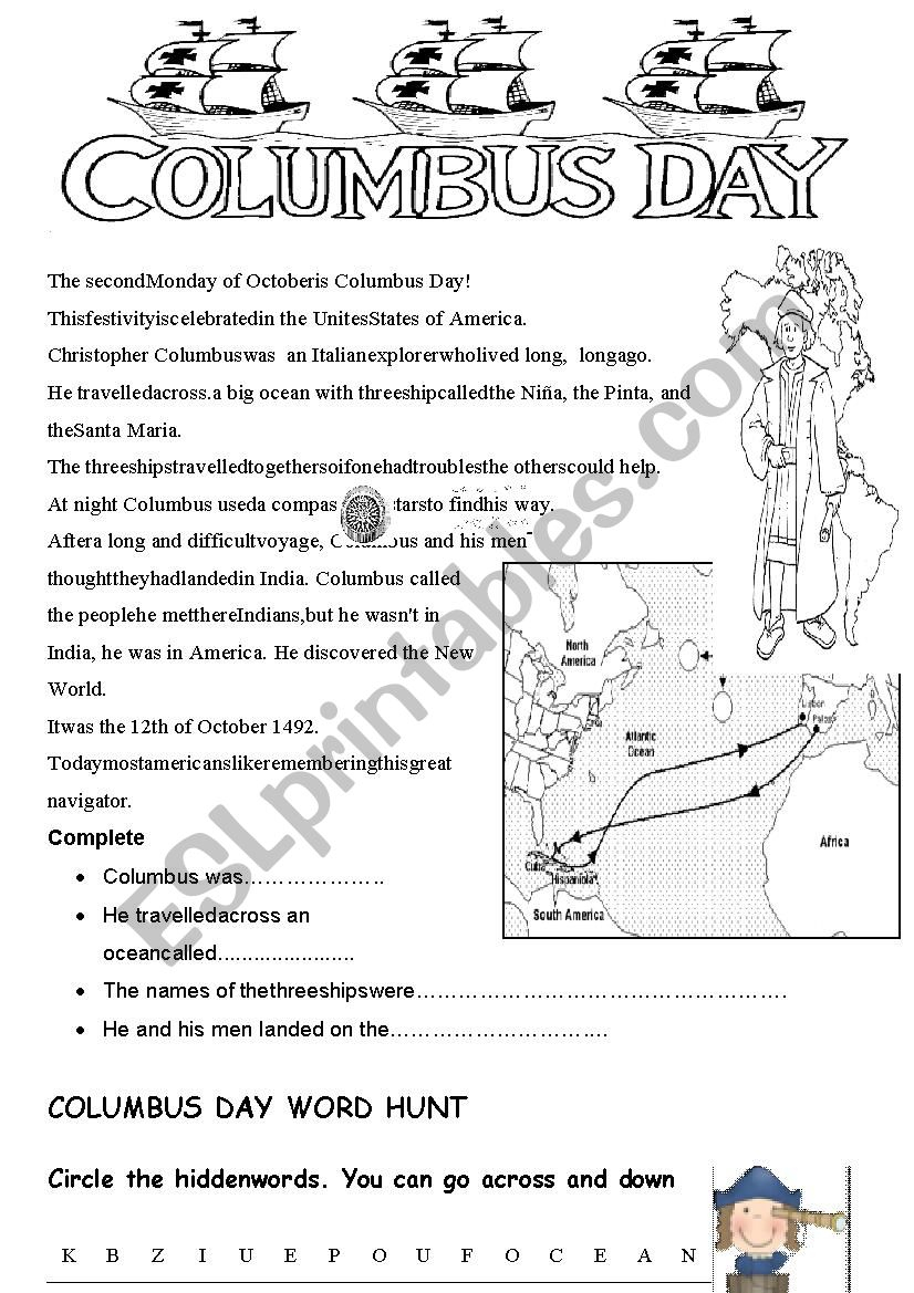 Columbus Day - Esl Worksheetannie8 | Columbus Day Worksheets Printable