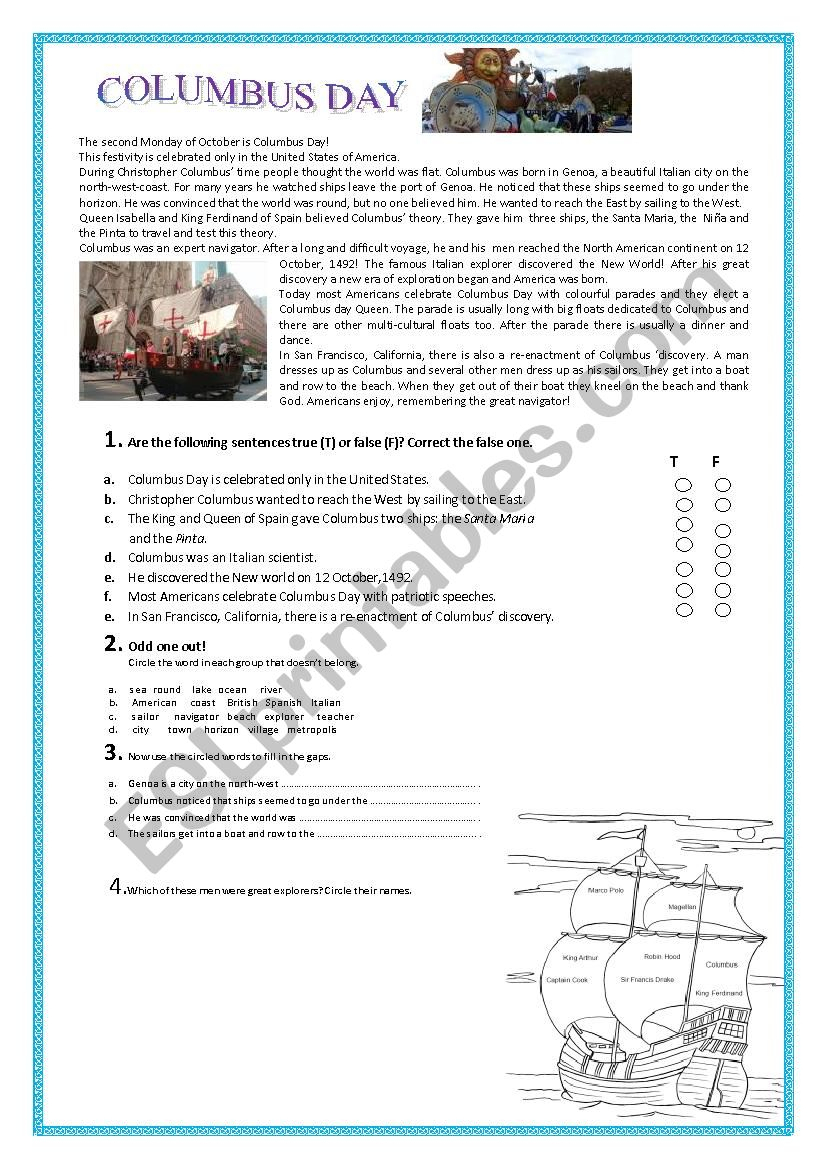 Columbus Day - Esl Worksheetpallino | Columbus Day Worksheets Printable