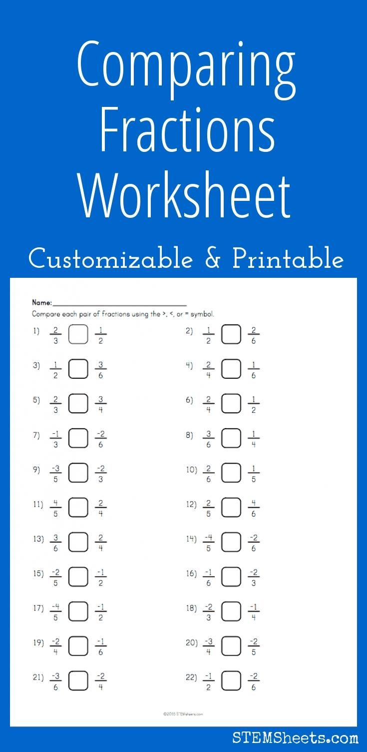 Comparing Fractions Worksheet - Customizable And Printable | Math | Printable Worksheet Maker