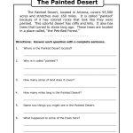 Comprehension Worksheet For 1St Grade (Y2/p3): The Painted Desert | Printable Comprehension Worksheets For Grade 6