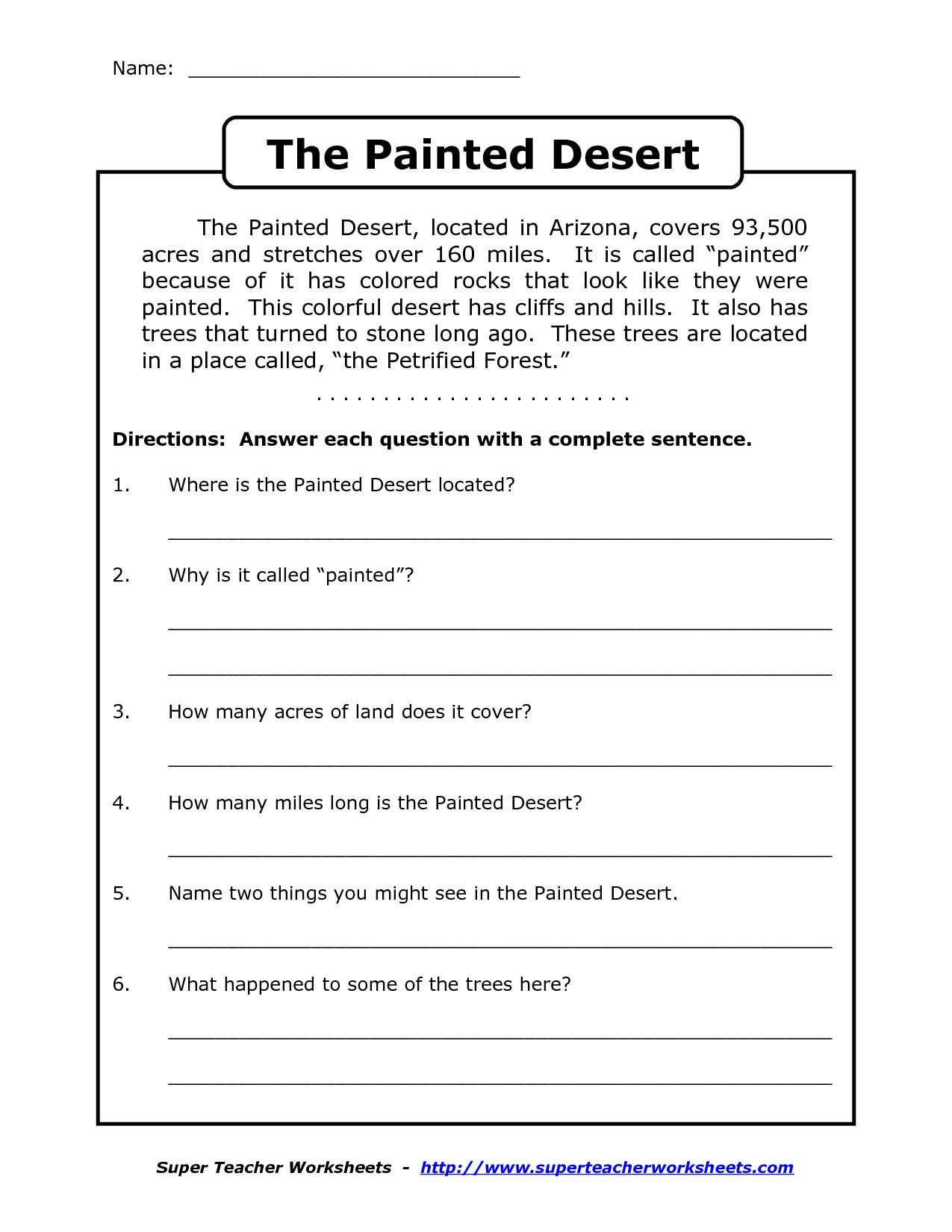 Comprehension Worksheet For 1St Grade (Y2/p3): The Painted Desert | Printable Comprehension Worksheets For Grade 6