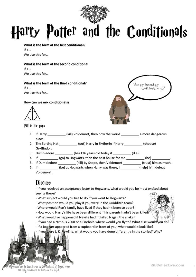 Conditionals (Second, Third, Mixed) With Harry Potter Worksheet | Harry Potter Printable Worksheets