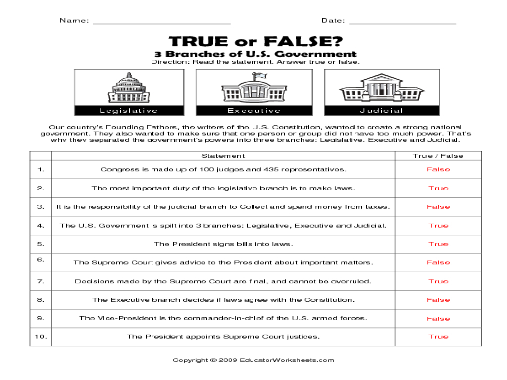 Constitution Worksheets Free 3 Branches Government Worksheet - Free | Constitution Printable Worksheets