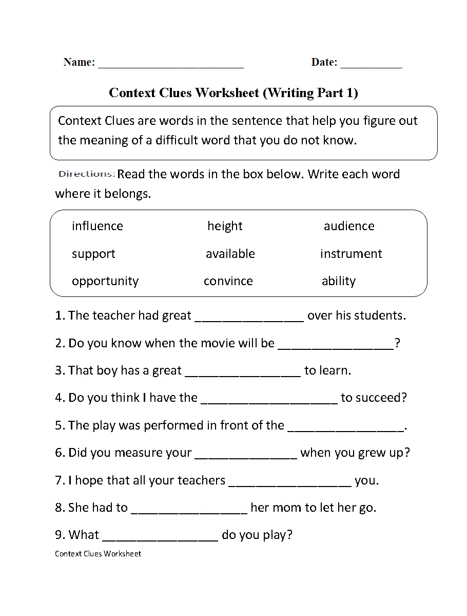 Context Clues Worksheet Writing Part 1 Intermediate | Ela | Context | Free Printable Worksheets For 3Rd Grade Language Arts