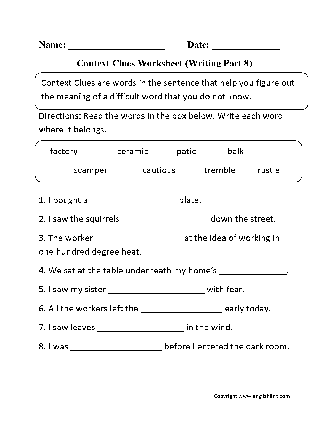 Context Clues Worksheet Writing Part 8 Intermediate | Reading Games | Context Clues Printable Worksheets 6Th Grade