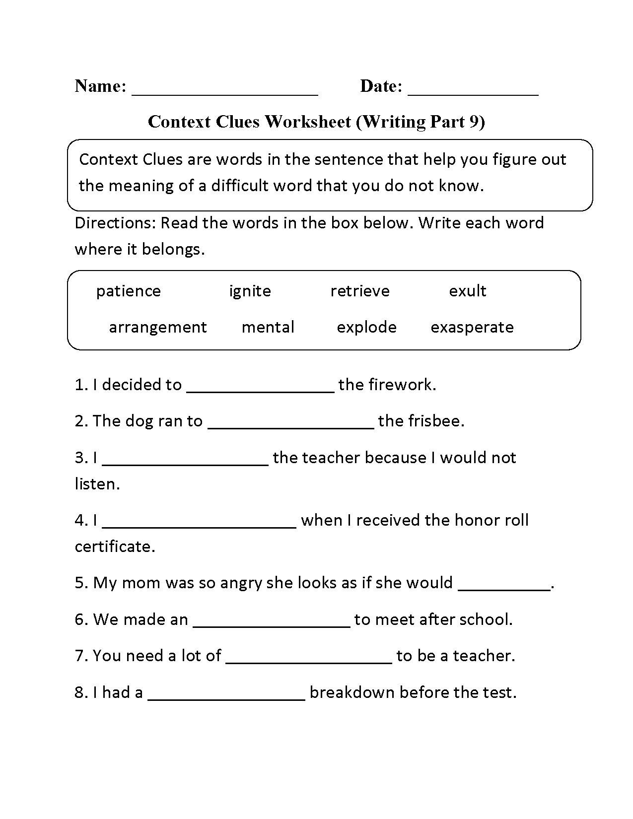 Context Clues Worksheet Writing Part 9 Intermediate | Context Clues | Context Clues Printable Worksheets 6Th Grade