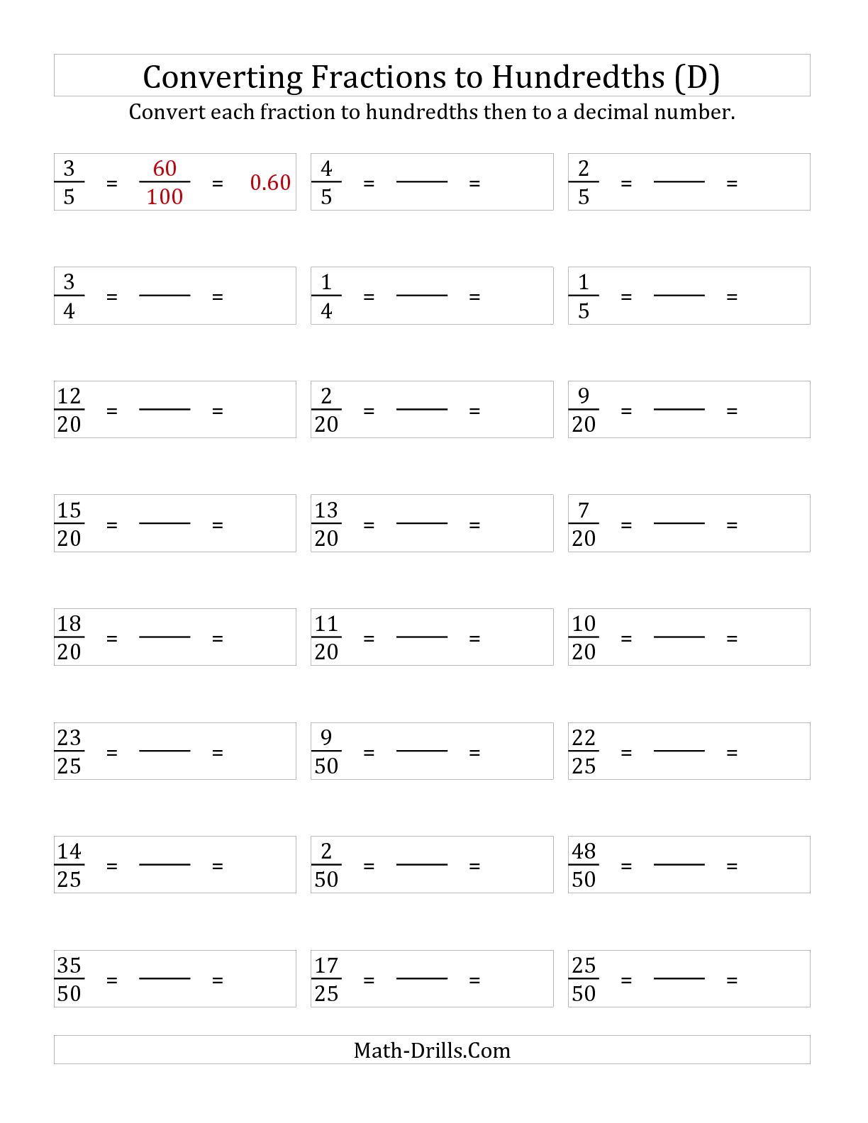 Convert Fractions To Decimals Worksheet : Cmediadrivers | Convert Fractions To Decimals Worksheets Free Printable