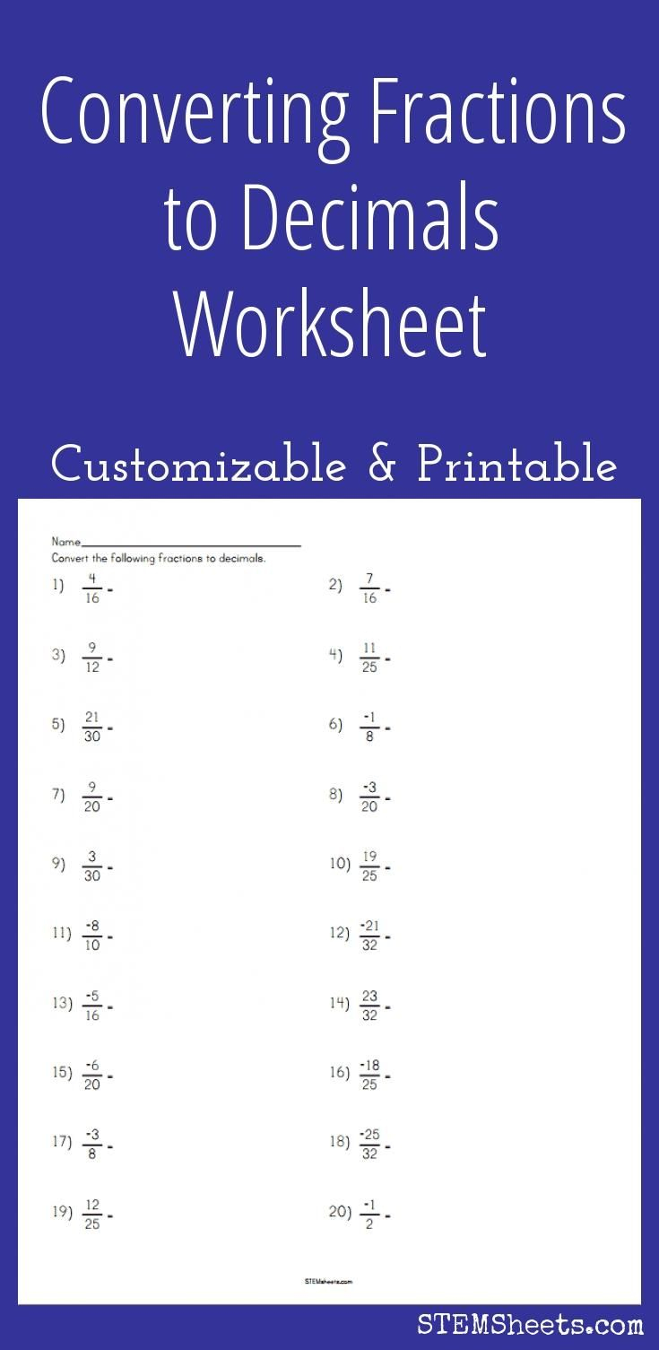 Converting Fractions To Decimals Worksheet - Customizable And | Fractions To Decimal Worksheets Printable